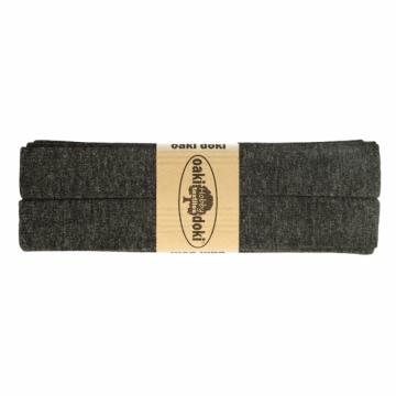 tricot de luxe biaisband oaki doki gemeleerd antraciet