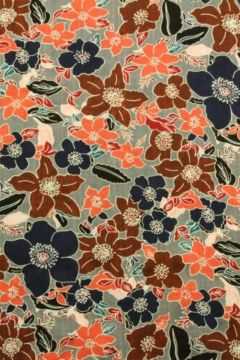 Cotton Viscose - Happy Flowers Grey