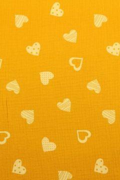 Hydrofiel Stof - Lovely Hearts Ocher