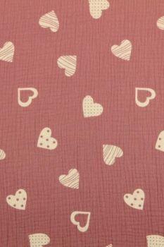 Hydrofiel Stof - Lovely Hearts Vintage Pink