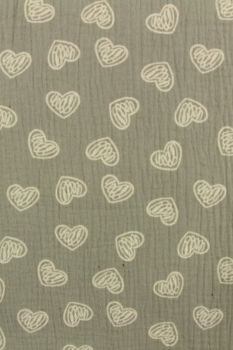 Hydrofiel Doek Scratched hearts on Grey