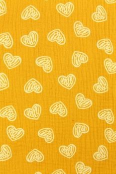 Scratched hearts on Ocher