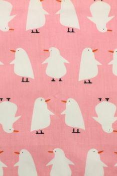 katoen met pinguin wit/roze