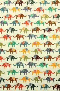 gekleurde olifanten katoenen print