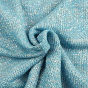 gebreide lurex glitter tricot aqua blauw