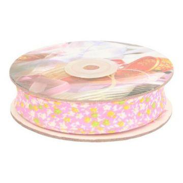 Biaisband- Flowers 20mm-02 Zacht Roze