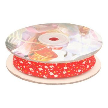Biaisband- Flowers 20mm-03 Rood