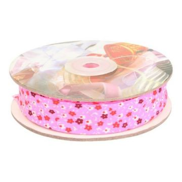Biaisband- Flowers 20mm-05 Roze