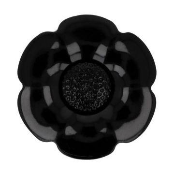 Knoop Bloem Verwisselbaar Hart - Black - 25mm