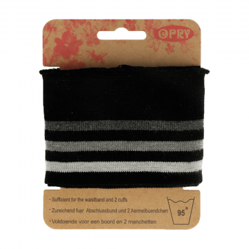 Manchetten Band Streep - Black & Grey Stripes