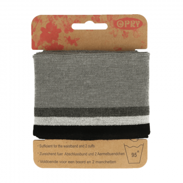Manchetten Band Streep - Grey & Silver/Black Stripes