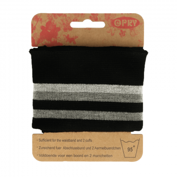 Manchetten Band Streep - Black & Grey/Silver Stripes