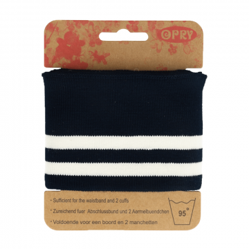 Manchetten Band Streep - Navy & White Stripes