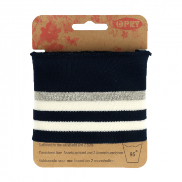 Manchetten Band Streep - Navy & White/Silver Stripes