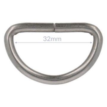 Opry D-ring - Mat Silver - 32mm