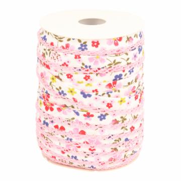 Biaisband - Bloemen met kant -2348 Rood/Licht Roze