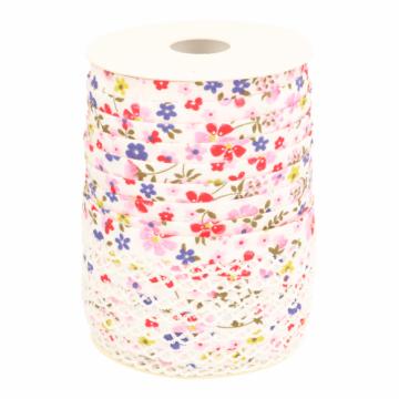 Biaisband - Bloemen met kant -2349 Rood/Wit