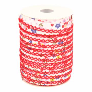 Biaisband - Bloemen met kant -2720 Roze/Rood