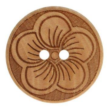 Knoop Hout 20mm  - Flower