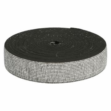 Elastiek zilver zwart-40 mm