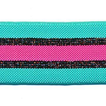 ELASTIEK turquoise/koper Glitter/Roze