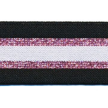 ELASTIEK Zwart/Roze Glitter/Wit
