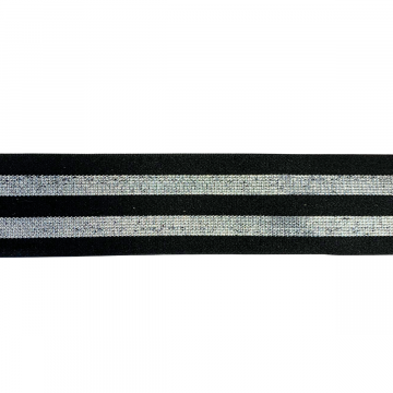 Elastiek Shimmer Lines Silver - 40mm