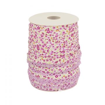 Biaisband - Bloemen met kant -2353 Lila/Lavendel