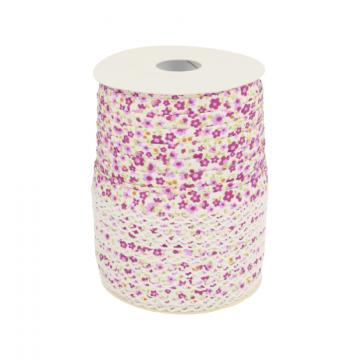 Biaisband - Bloemen met kant -2325 Lila/Lavendel