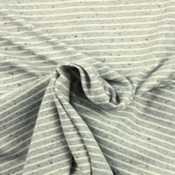 Soft Cotton Jersey - Mouse Grey Striped Melange