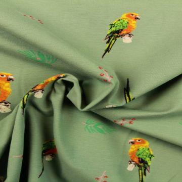 Katoenen Tricot - Parrots on Vintage Mint