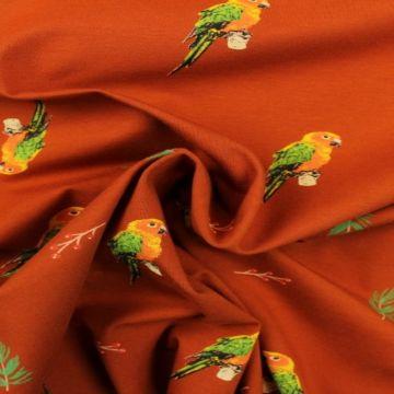 Katoenen Tricot - Parrots on Rusty
