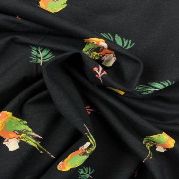 Katoenen Tricot - Parrots on Navy