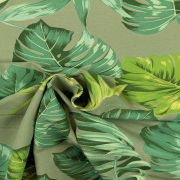 Katoenen Tricot - Jungle Leaves on Vintage Mint