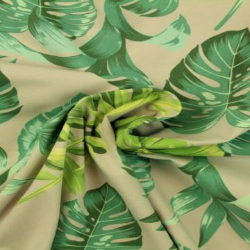 Katoenen Tricot - Jungle Leaves on Soft Grey