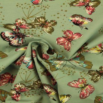 Katoenen Tricot - Butterfly on Vintage Mint
