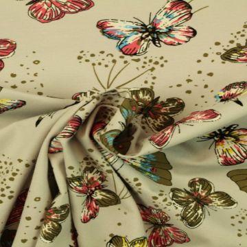 Katoenen Tricot - Butterfly on Soft Grey