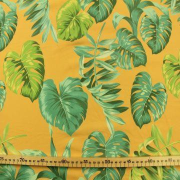 Katoenen Tricot - Jungle Leaves on Ocher