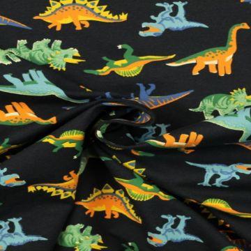 Katoenen Tricot - Dino on Navy