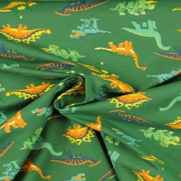 Katoenen Tricot - Dino on Green