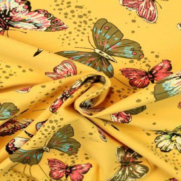 Katoenen Tricot - Butterfly on Soft Ocher