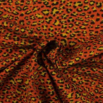 Katoenen Tricot - Leopard on Rusty