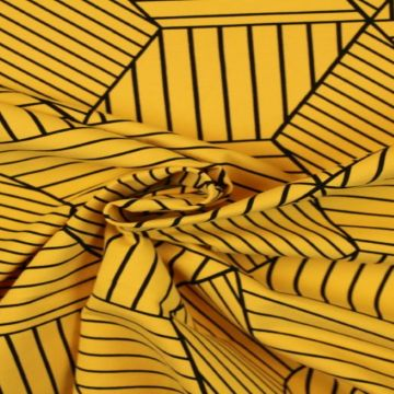 Katoenen Tricot - Lined Cubes on Ocher