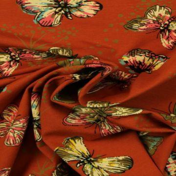 Katoenen Tricot - Butterfly on Rusty