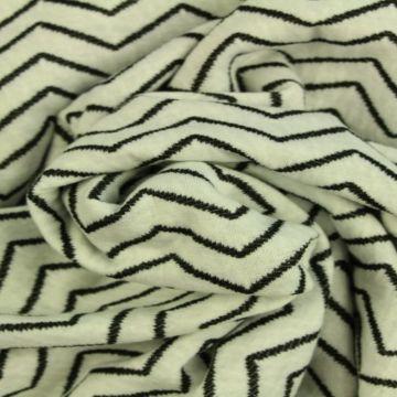 Jacquard Jersey - White/Black Small Zigzag