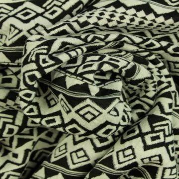 Jacquard Jersey - Black/White Graphic Lines