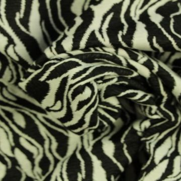 Jacquard Jersey - Black/White Waves