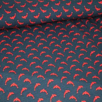 Katoenen Tricot - Qjutie: Dolphins