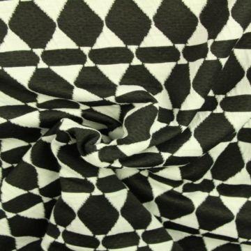 Jacquard Jersey - Black/White Retro Diamonds