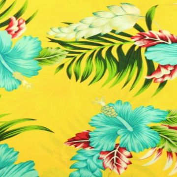 Viscose - Tropical Flowers on Yellow